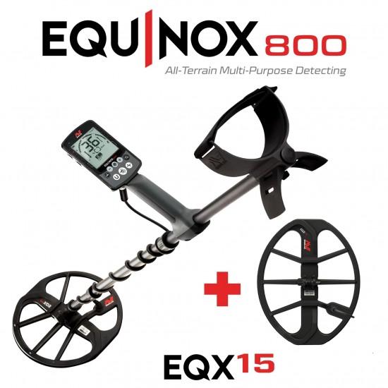 """Металотърсач Minelab Equinox 800 + 15"""" Double-D EQX coil + 5 подаръка + Най-добра цена + Безплатна доставка"""