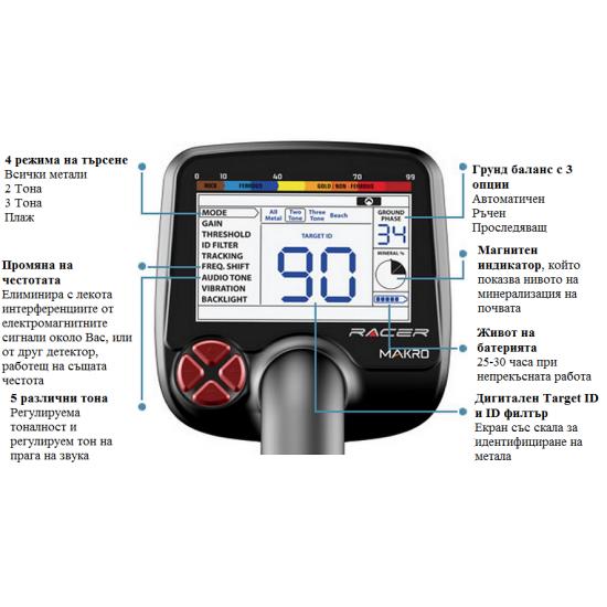 Металотърсач Makro Racer Pro Пакет + Безплатна доставка + 5 подаръка + Най-ниска цена