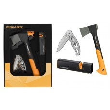 Комплект брадва Fiskars X7 + нож Gerber Paraframe + точило Xsharp