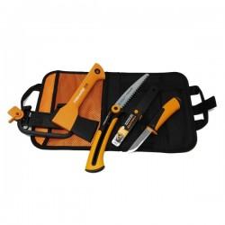 Fiskars комплект Брадва X5 + Телескопичен трион + Универсален нож с вградено точило + Безплатна доставка
